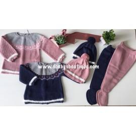 conjunto lana tres piezas greca