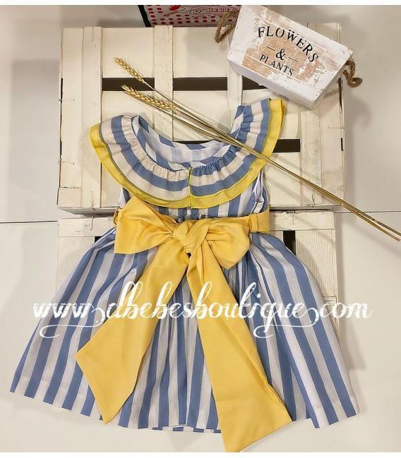 vestido rayas detalles amarillos blanca valiente