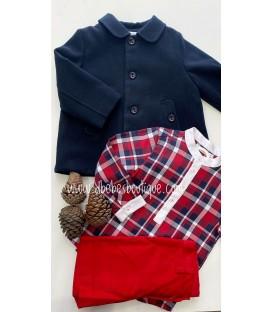conjunto camisa y bermuda cuadros rojo