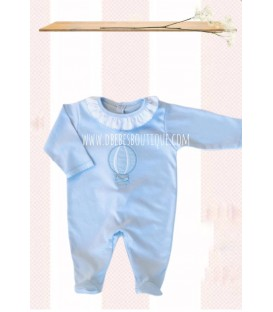 Pijama algodon globos celeste  valentina bebes