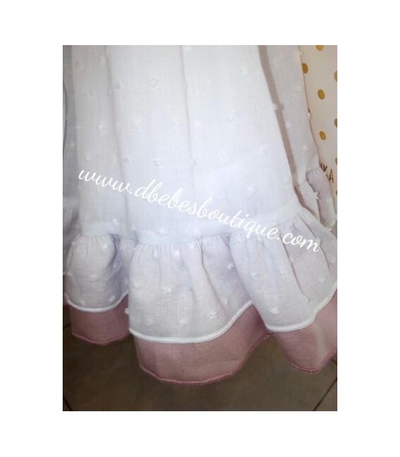 Vestido plumeti blanco y lino maquillaje, Alhuka
